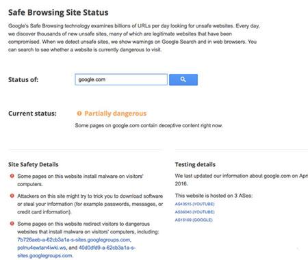 گوگل : وب سایت گوگل خطرناک است